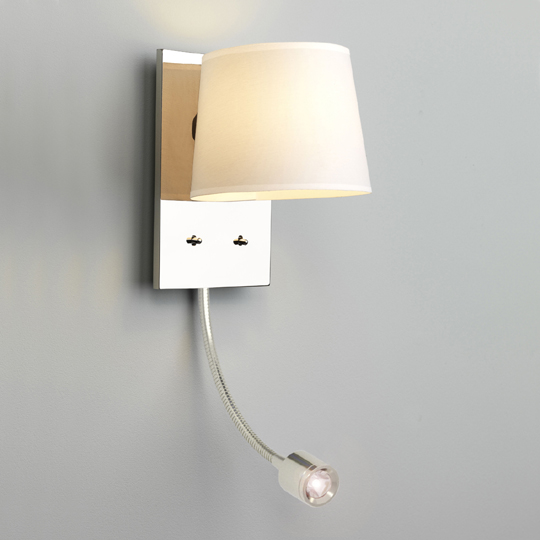 Bedside Wall Lamp With Led : Twin Source Bedside Lamp with White Shade