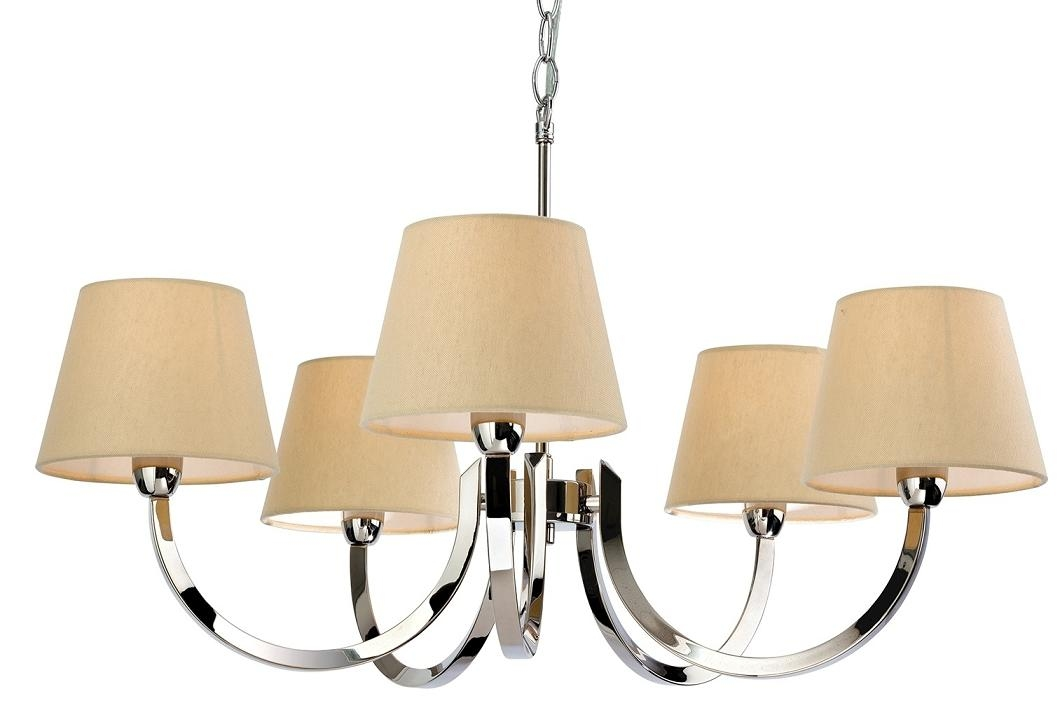 chrome multi arm pendant with cream shades. Black Bedroom Furniture Sets. Home Design Ideas