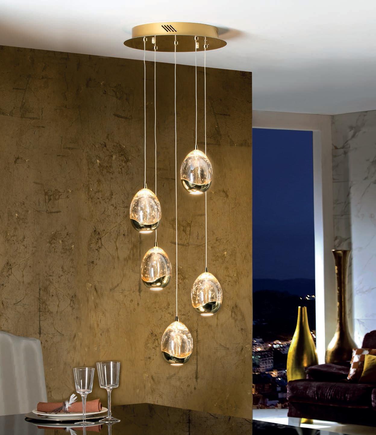 led pendant 5 light pendant chrome or gold. Black Bedroom Furniture Sets. Home Design Ideas