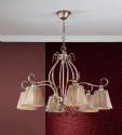 6 Light Aged Gold & Silver Shaded Chandelier