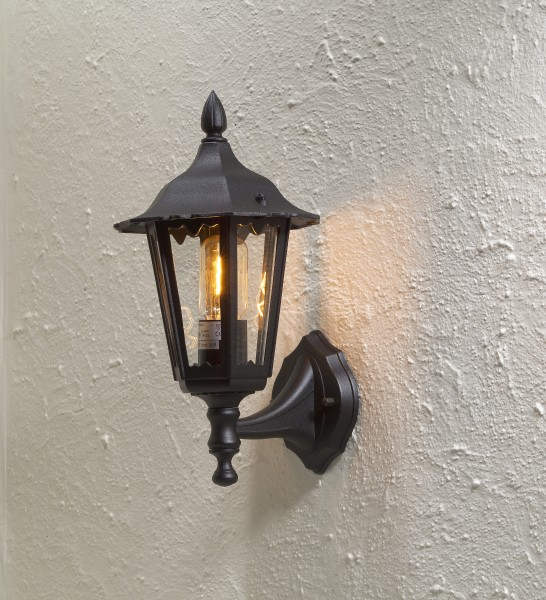 Traditional Garden Wall Lights : Matt Black Classic External Wall Lamp