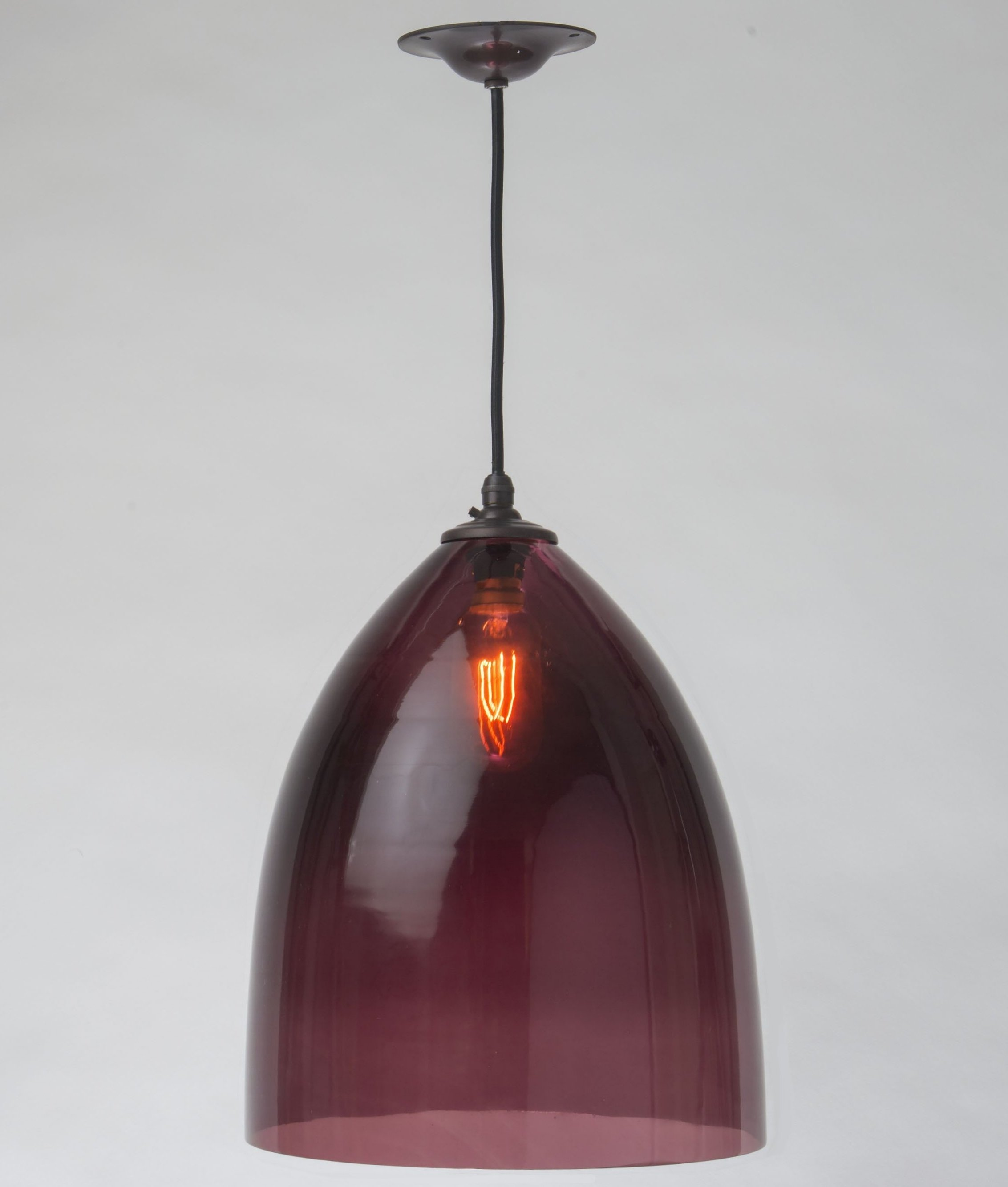 Aubergine Handblown Glass Shade Pendant