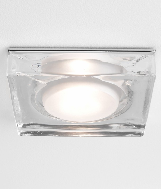 Polished Chrome And Thick Glass Bathroom Downlight