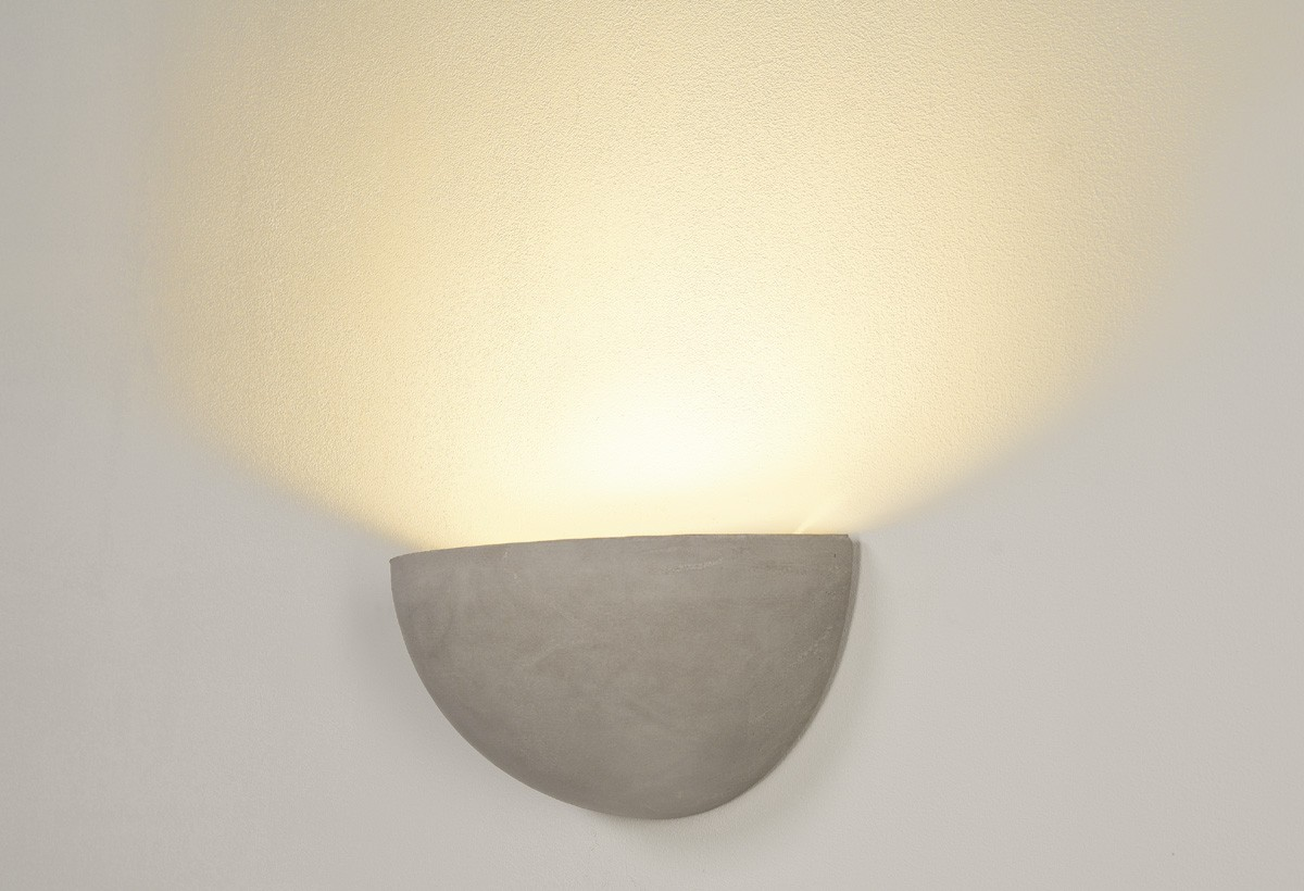 Wall Mounted Moon Lamp : Concrete Half Moon Up Wall Light