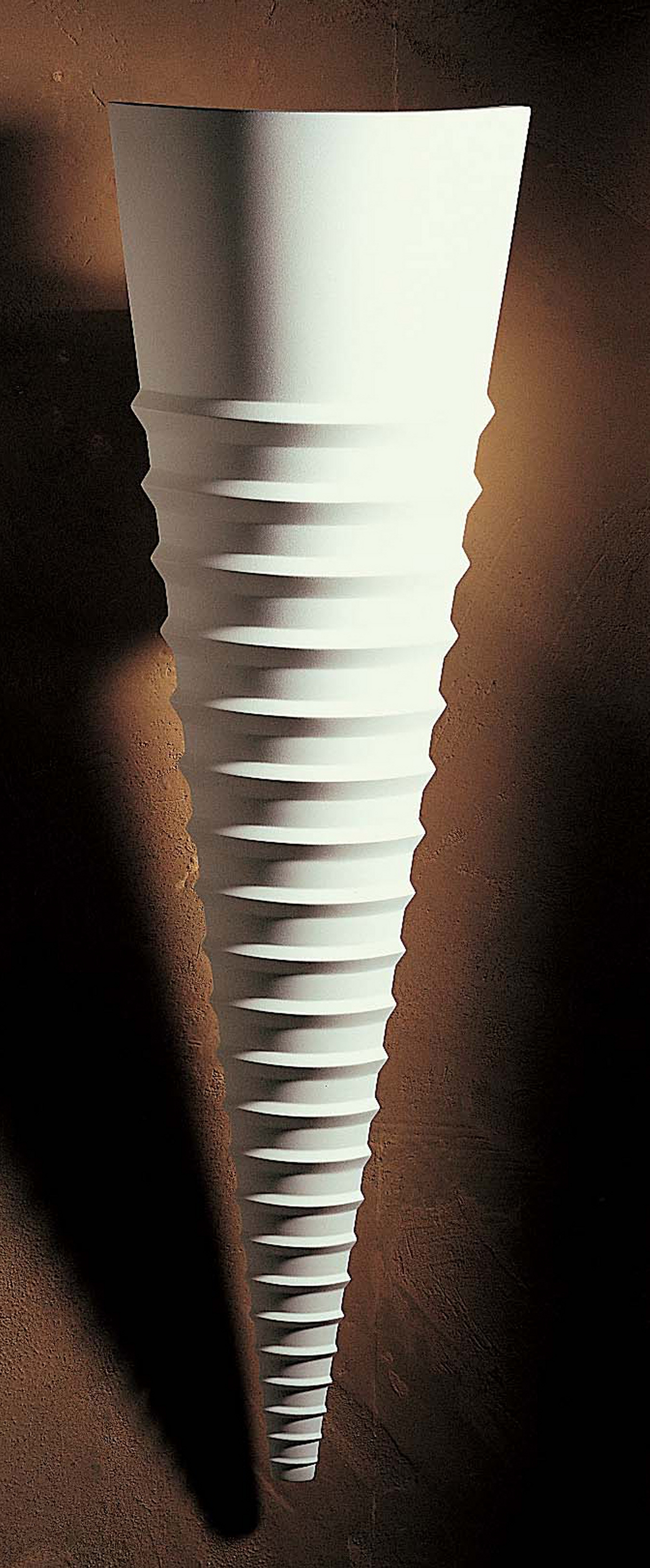 Smooth Ribbed Cone Plaster Light