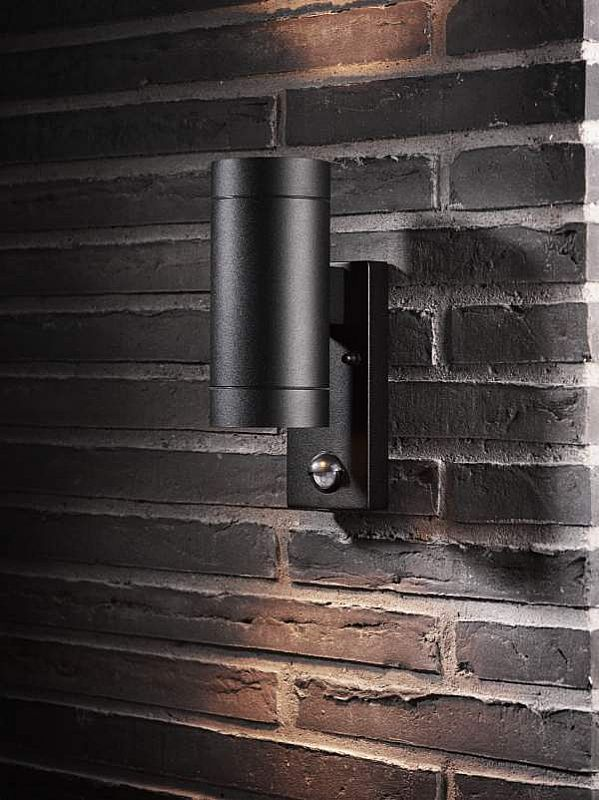 Exterior up down wall light with pir for Exterior up down wall light