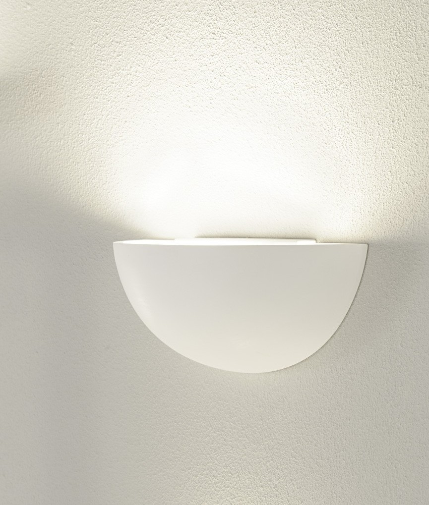 Plaster Half Moon Up Wall Light