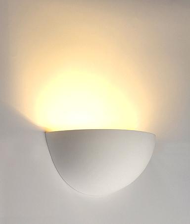 Plaster Wall Lights For Painting : Half Moon Plaster Wall Light