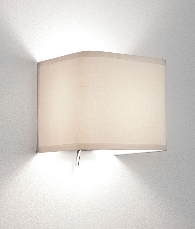 Wall Light Lamp Shades Fabric : Elegant Chrome Wall Light with Fabric Shade