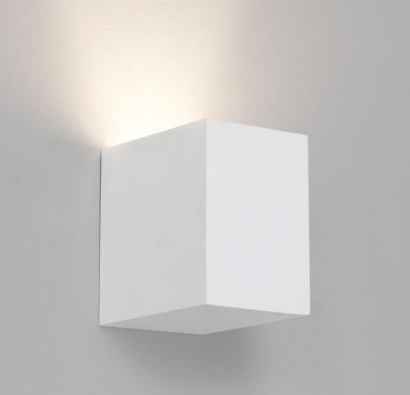 White Square Wall Lights : Square White Plaster Interior Wall Light