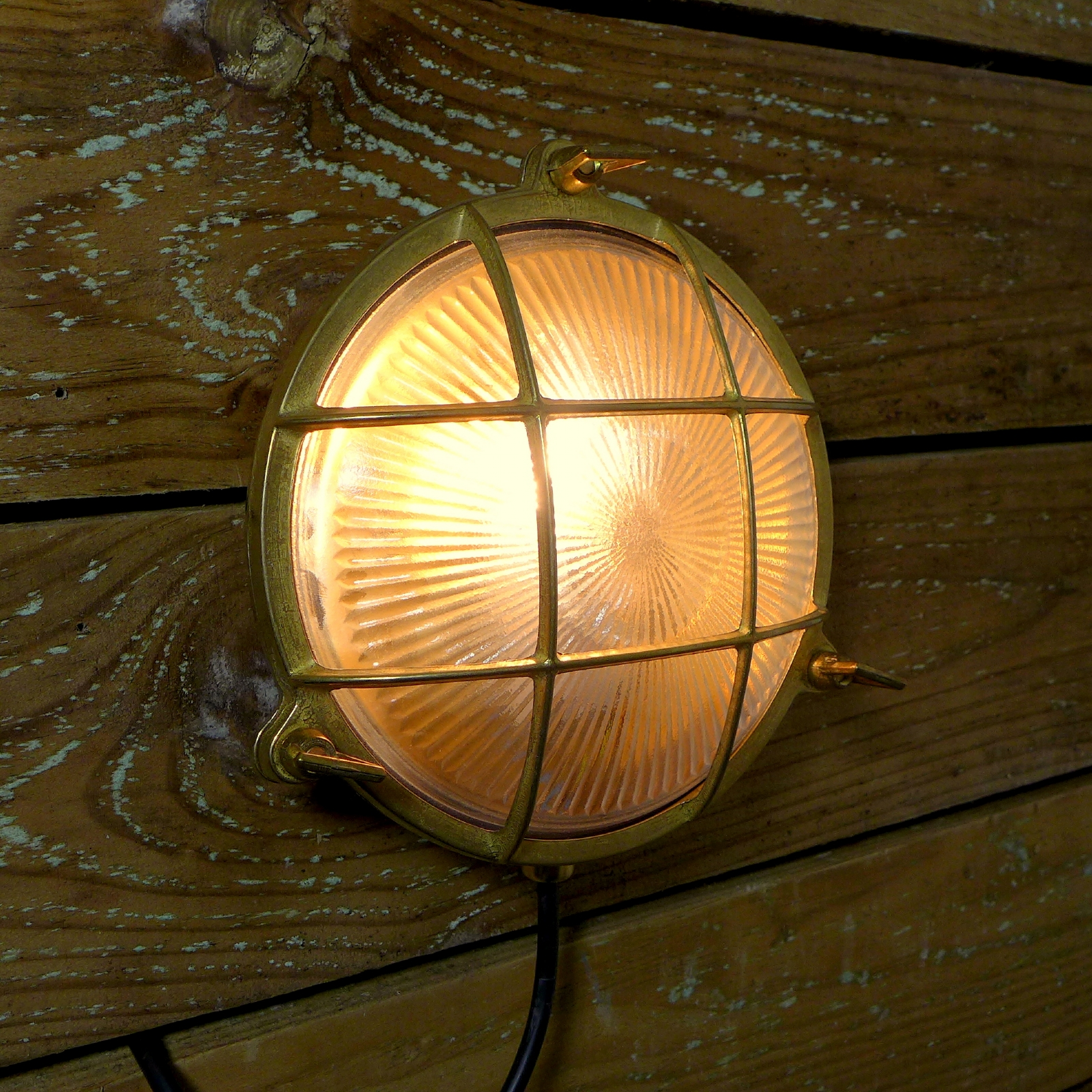 Brass Bulkhead Wall Lights : Marine Brass Caged Bulkhead Wall Light