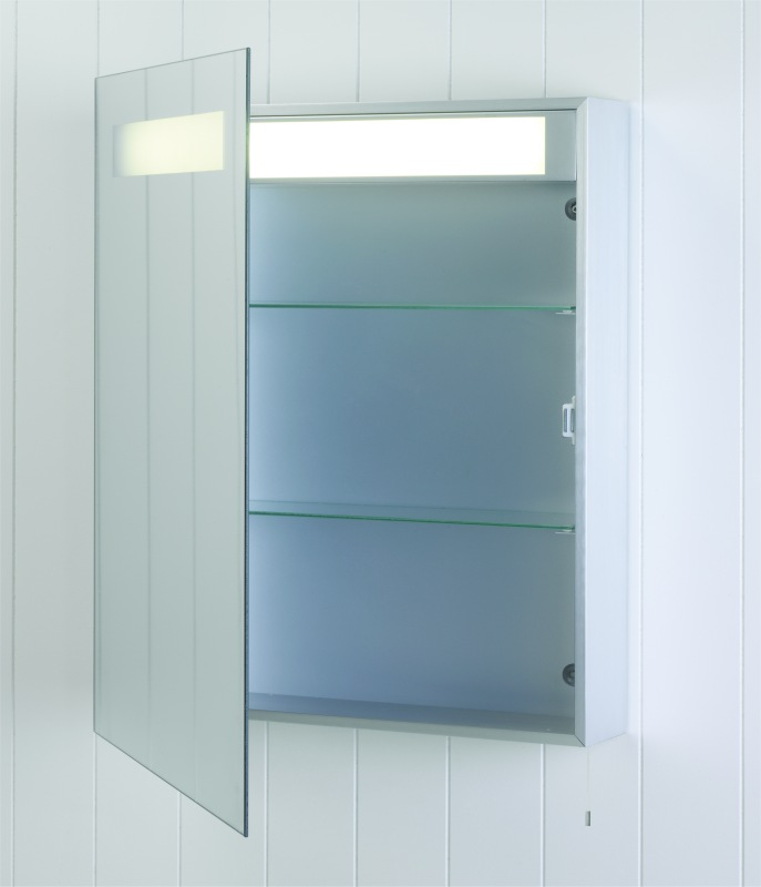 Illuminated mirrored bathroom cabinet ip44 rated for Bathroom cabinets 700mm