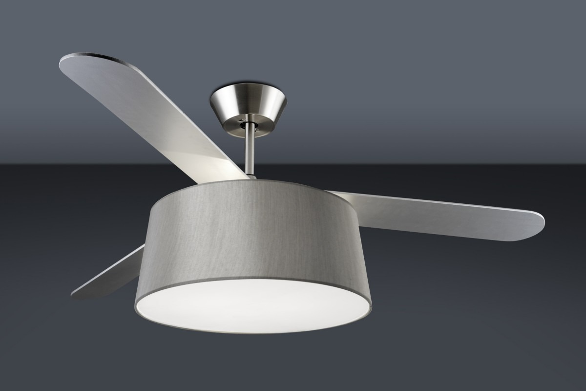 modern ceiling fan with drum light shade