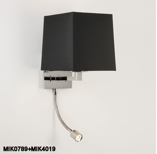 finished wall light with additional adjustable led reading light