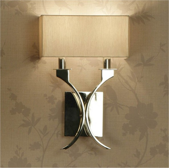 Polished Nickel Wall Light & Cream Shade
