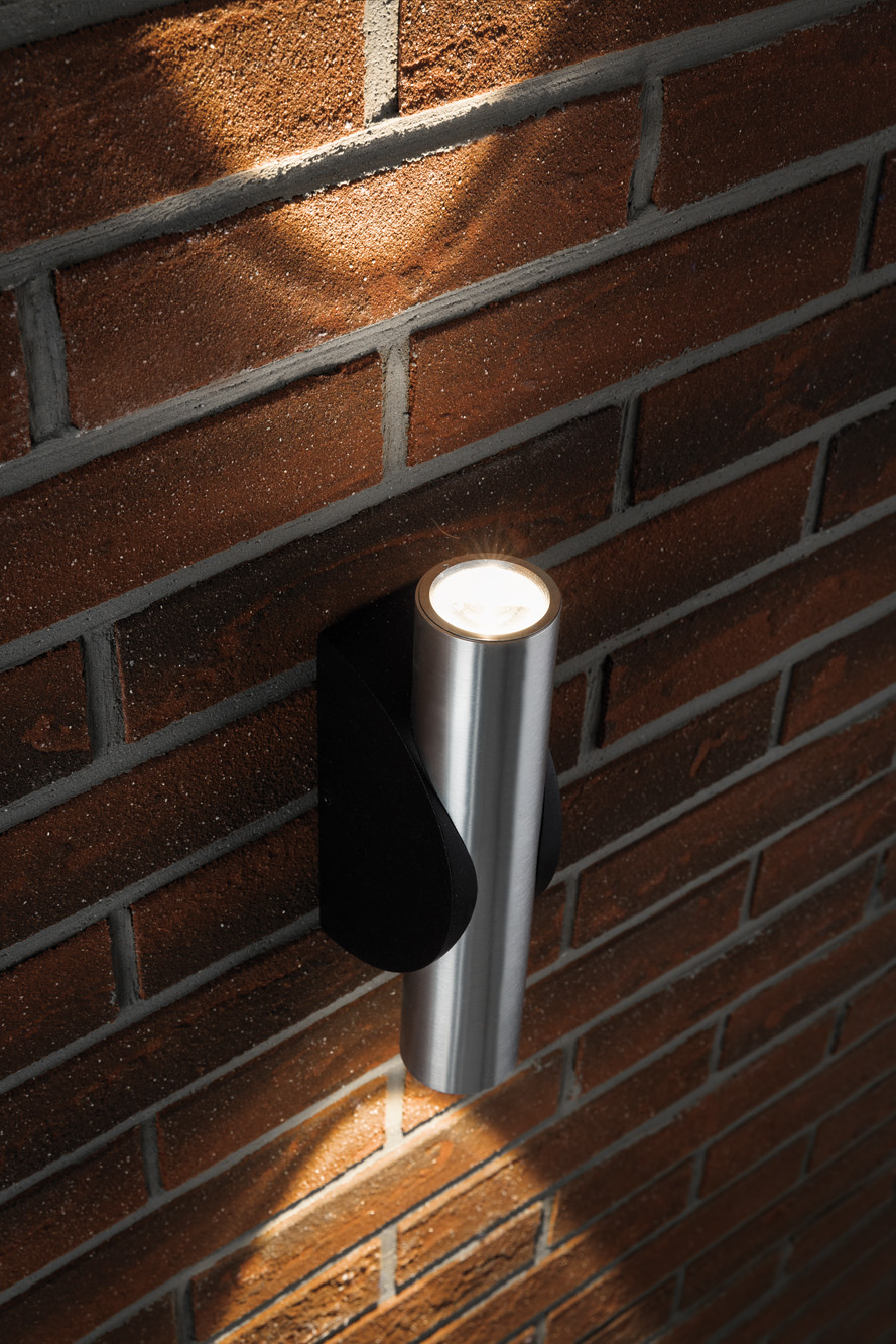 Up down tubular exterior wall light for Exterior up down wall light