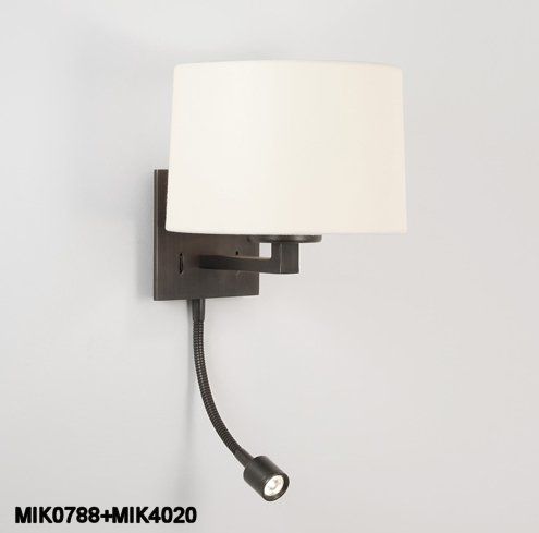 Tiffany Switched Wall Lights : Small Bedside Wall Light with LED - Bronze