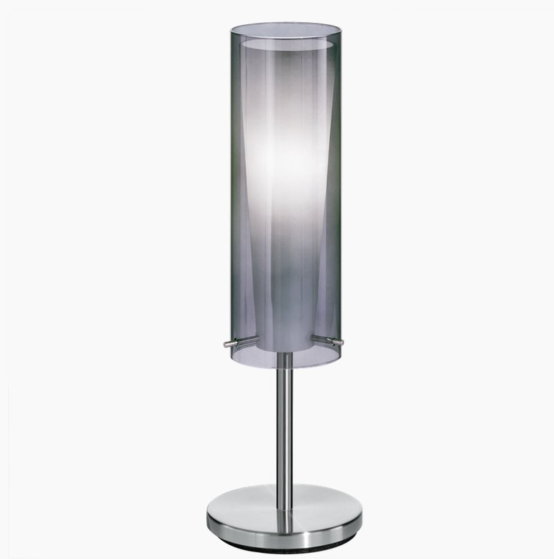 Smoked Amp White Glass Table Lamp