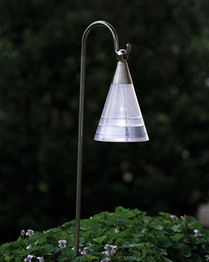 Cone Wall Light With Pir : Solar Chrome Lantern
