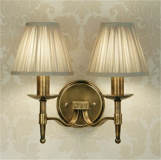 Vintage Wall Lights Double : Antique Brass Double Wall Light