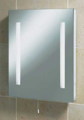 illuminated mirror with shaver point