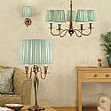 Brass Chandelier and Duck Egg Blue Shades