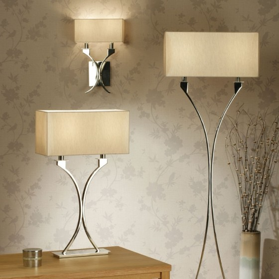 Cream Wall Lamp Shades : Polished Nickel Wall Light & Cream Shade
