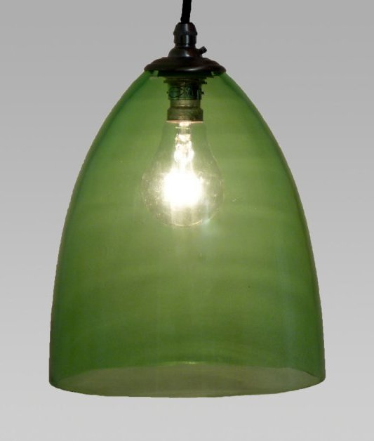 Vintage Green Handblown Glass Shade Pendant