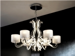 Reflective 6 Light Chandelier with Shades & LED