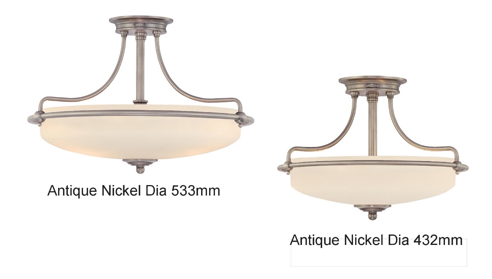 Traditional Bathroom Barclay Flush Fitting Glass Ceiling: Semi Flush White Glass & Metal Light