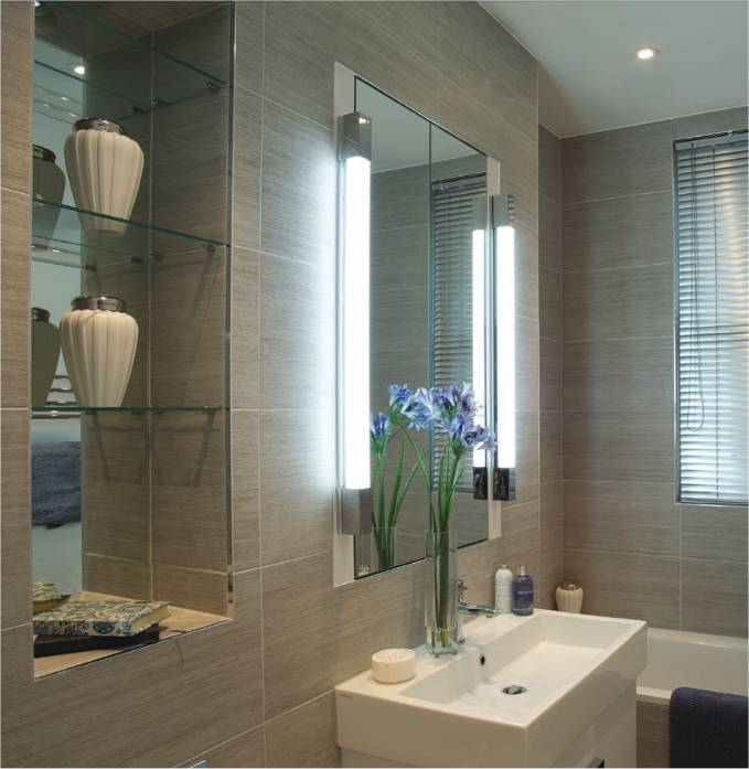 Over mirror light square edges for Bathroom side mirror
