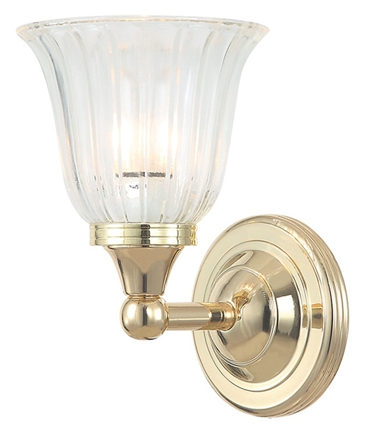 Small Brass Wall Lamps : Bathroom Brass Small Curved Wall Light