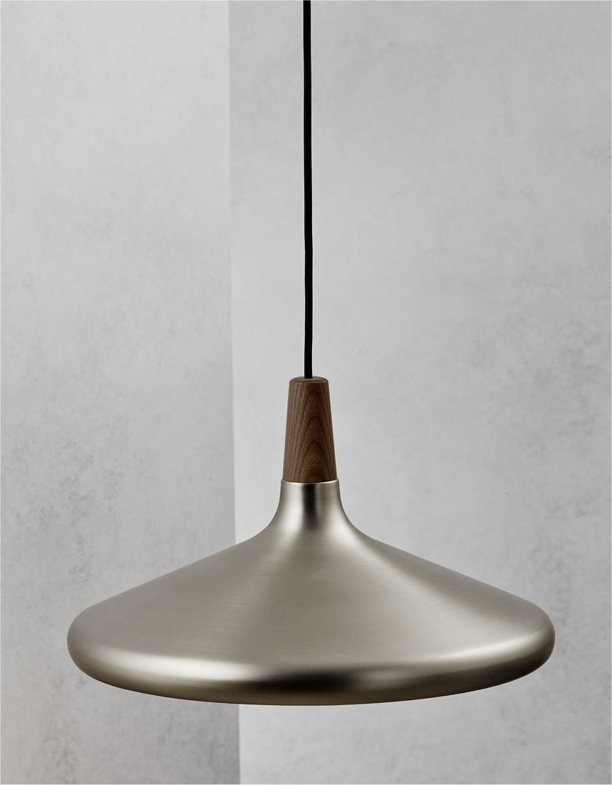 Brushed steel walnut wood pendant for Metal hanging lights