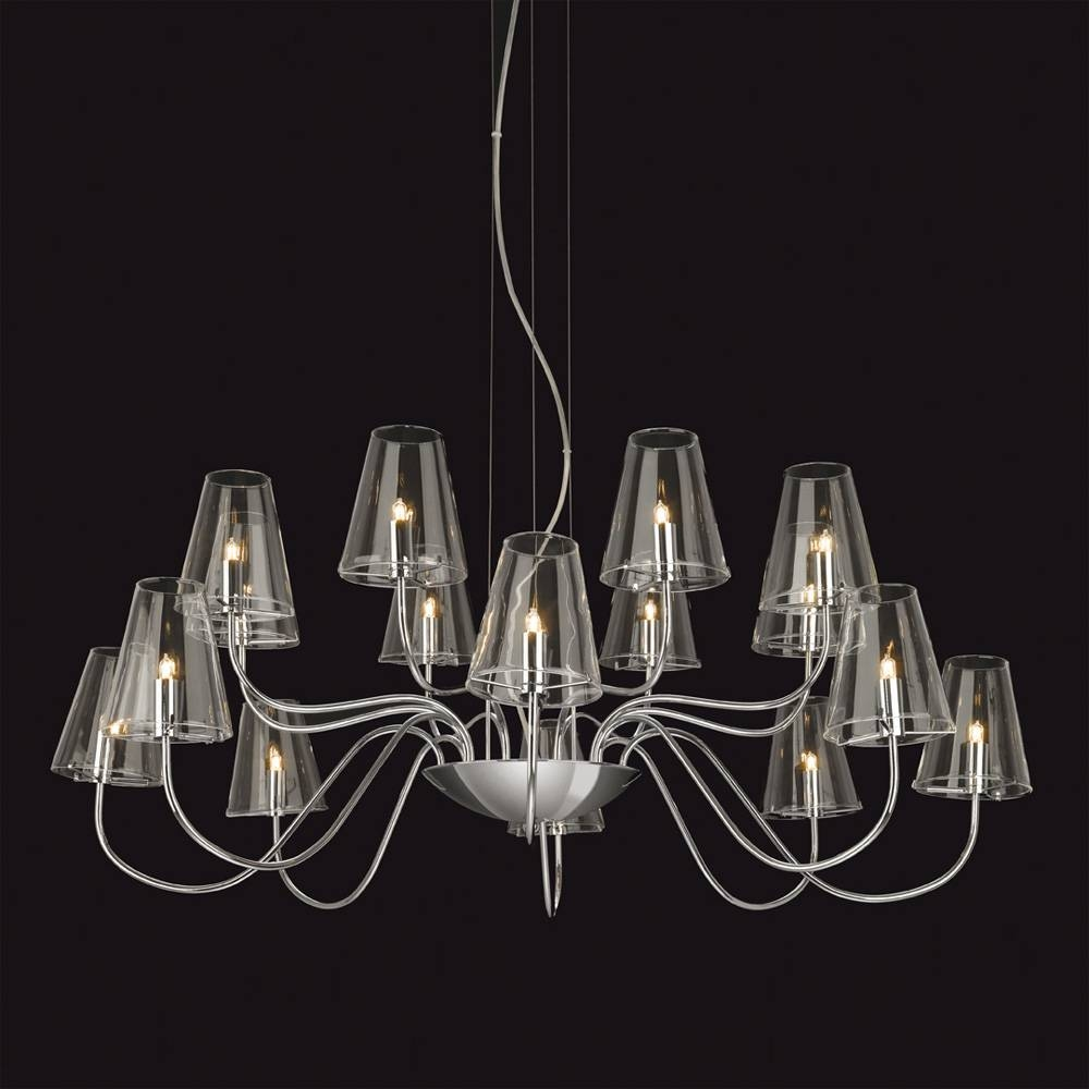 Chandelier Lighting Glass: Chrome & Clear Glass Chandelier