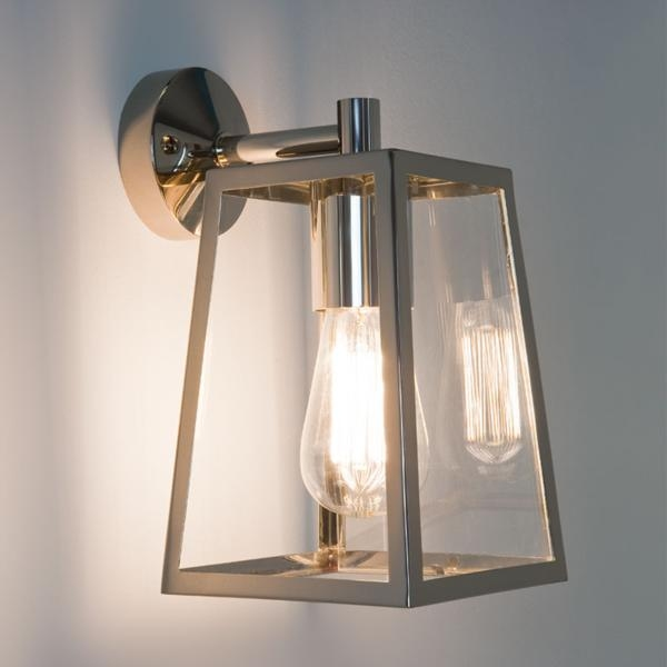 External Wall Lights Chrome : Ext Wall Lantern - Clear Glass H:280mm