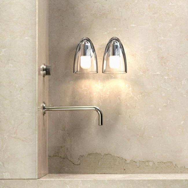 Small Chrome Wall Lights : Small Clear & Frosted Wall Light