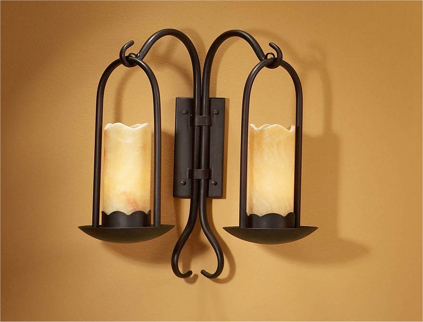 Rustic Brown Wall Light & Alabaster Shade