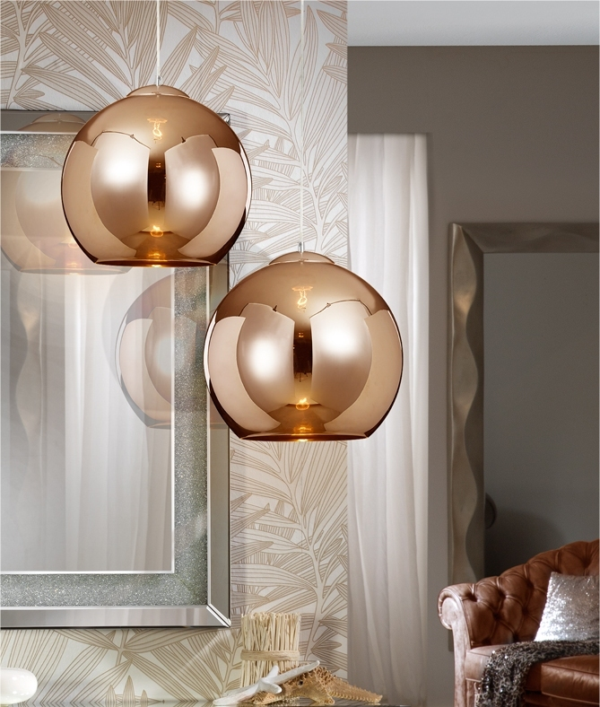 Copper Glass Shade with LED Lamp
