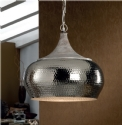 Hammered Metal LED Pendant - Aged Wood