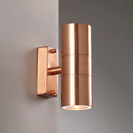 Copper Garden Wall Lights : Brushed Copper Wall Light - Up & Down