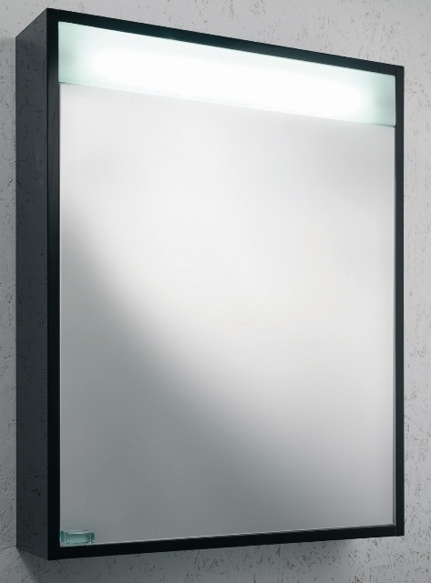 black gloss illuminated bathroom mirror