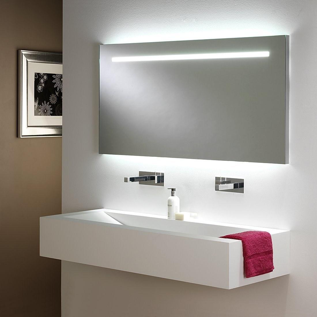 Long Illuminated Bathroom Mirror