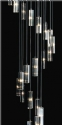 Long Drop 25 Light Glass & Chrome Pendant