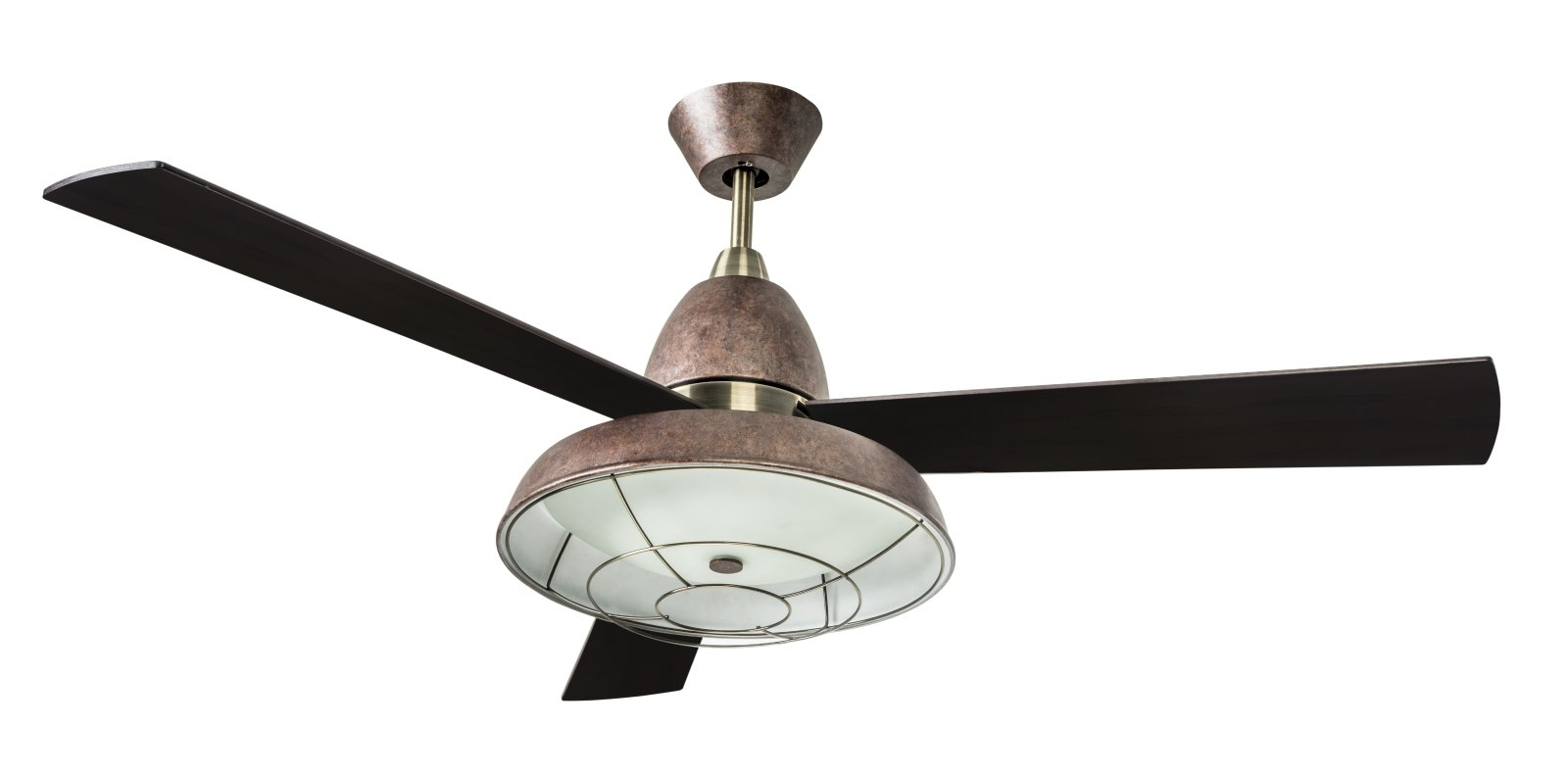 retro ceiling fan with caged light. Black Bedroom Furniture Sets. Home Design Ideas