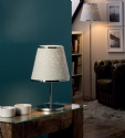 Chrome & Natural Fibre Shaded Table Lamp