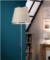 Chrome & Natural Fibre Shaded Floor Lamp