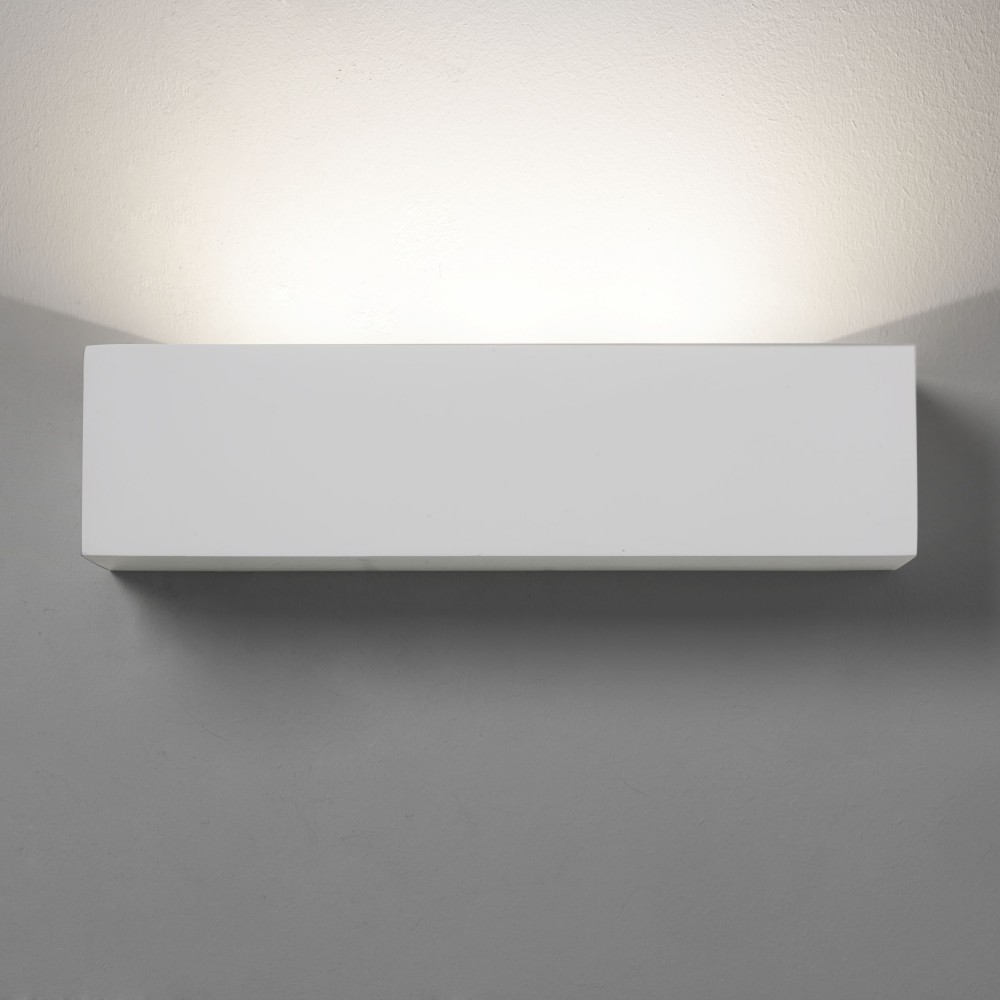 White Box Wall Lights : Oblong Box LED Plaster Wall Up Light
