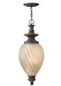 Aged Iron & Amber Optic Glass Chain Lantern