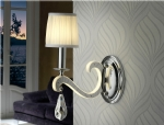 Reflective Wall Lights with Pleated Shades & LED