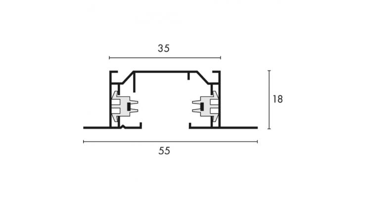 recessed single circuit lighting track